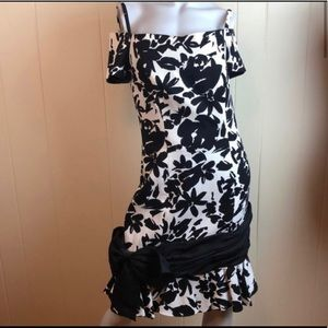 Vtg 80s/90s Off Shoulder Party Prom Floral Dress
